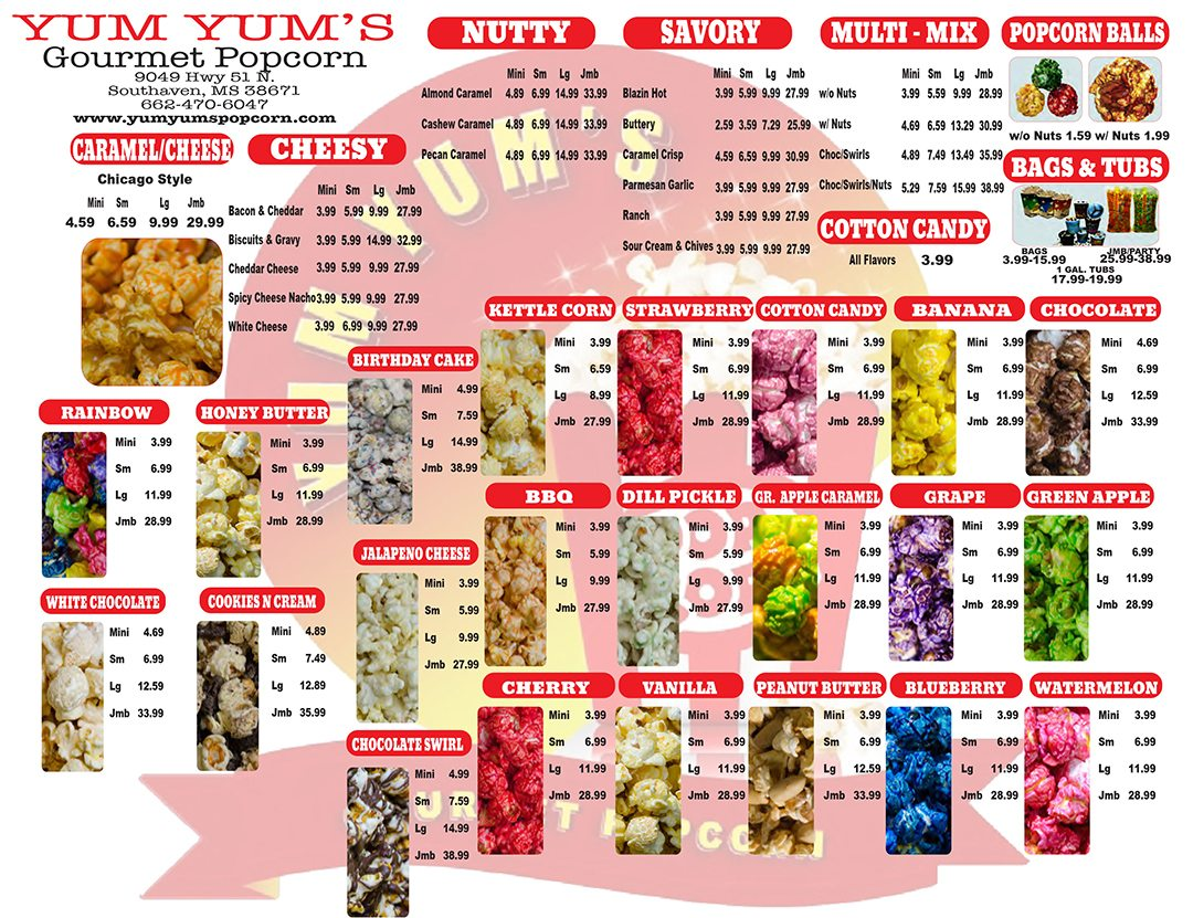 Yum Yum's Gourmet Popcorn Take out flyer